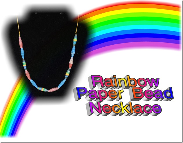 rainbow paper bead necklace